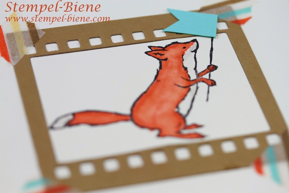 Kinderkarte, Stampin' Up Storybook Friends, Hip Notes, Designer-Motivklebeband This and that Retro-Spaß, Stanzenpaket Itty Bitty Formen, Framelitsform Auf Film, Jade, Mandarinorange, Vanille Pur, Stampin' Up Bestellen, Stampin' Up Stempelparty, Stempel-Biene Recklinghausen