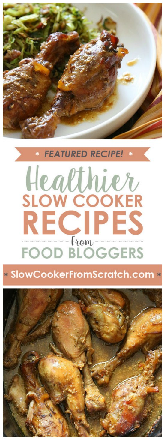 Crock Pot Maple Dijon Chicken Drumsticks from Skinnytaste featured on SlowCookerFromScratch.com