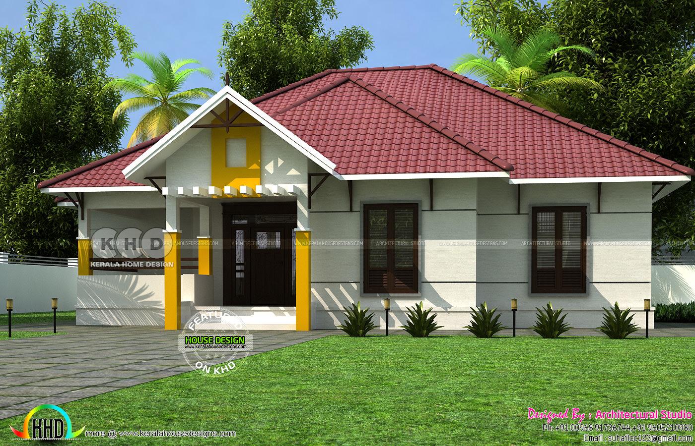 1400 Square Feet 3 Bedroom Sloped Roof Home Kerala Home
