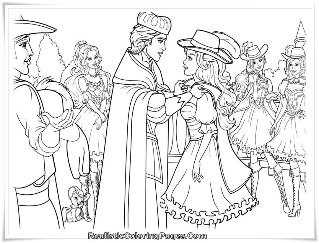 Barbie and the 3 musketeers coloring pages printable