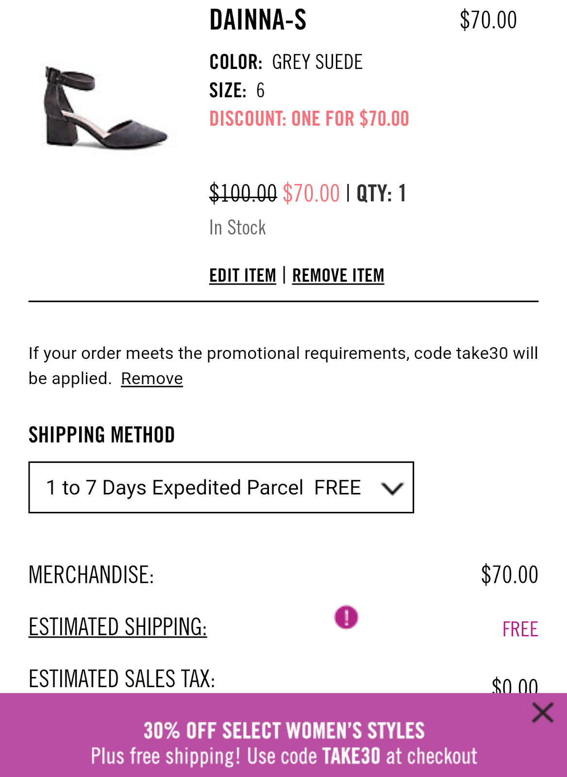 21ef6a1ce So fortunate that my Dainna-S pair of shoes is one of the select women's  styles, so I was able to punch in and apply the given shopping code TAKE30  (also ...