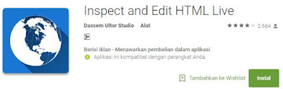 Aplikasi Inspect and Edit HTML Live