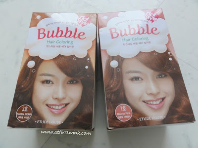Etude House Bubble Hair Coloring number 3 Natural Brown and number 7 Mocha Pink