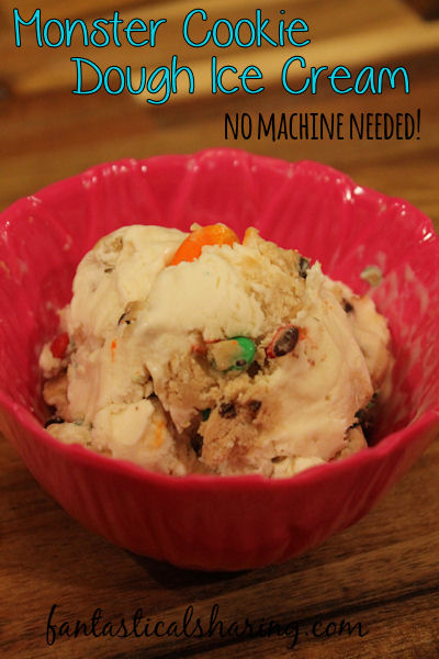 {No Churn} Monster Cookie Dough Ice Cream // No machine needed for this awesome loaded cookie dough ice cream! #icecream #monster #cookiedough #dessert