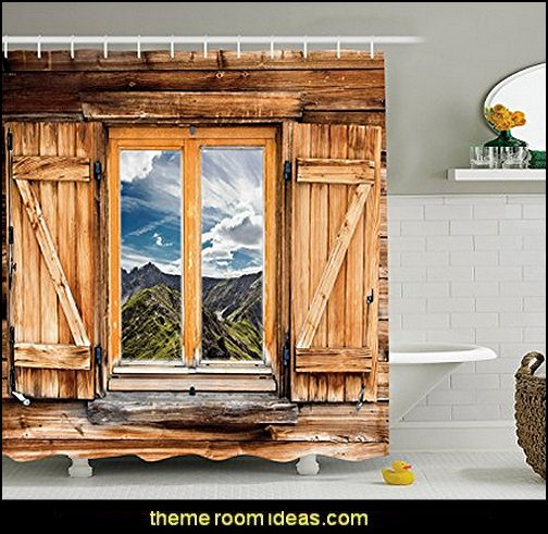 Mountain and Sky View from a Wooden Shuttered Window Room on Top of the Hills Nature Look, Polyester Fabric Bathroom Shower Curtain