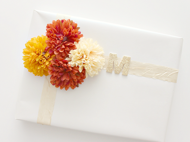 Fall Birthday Gift Wrap Idea
