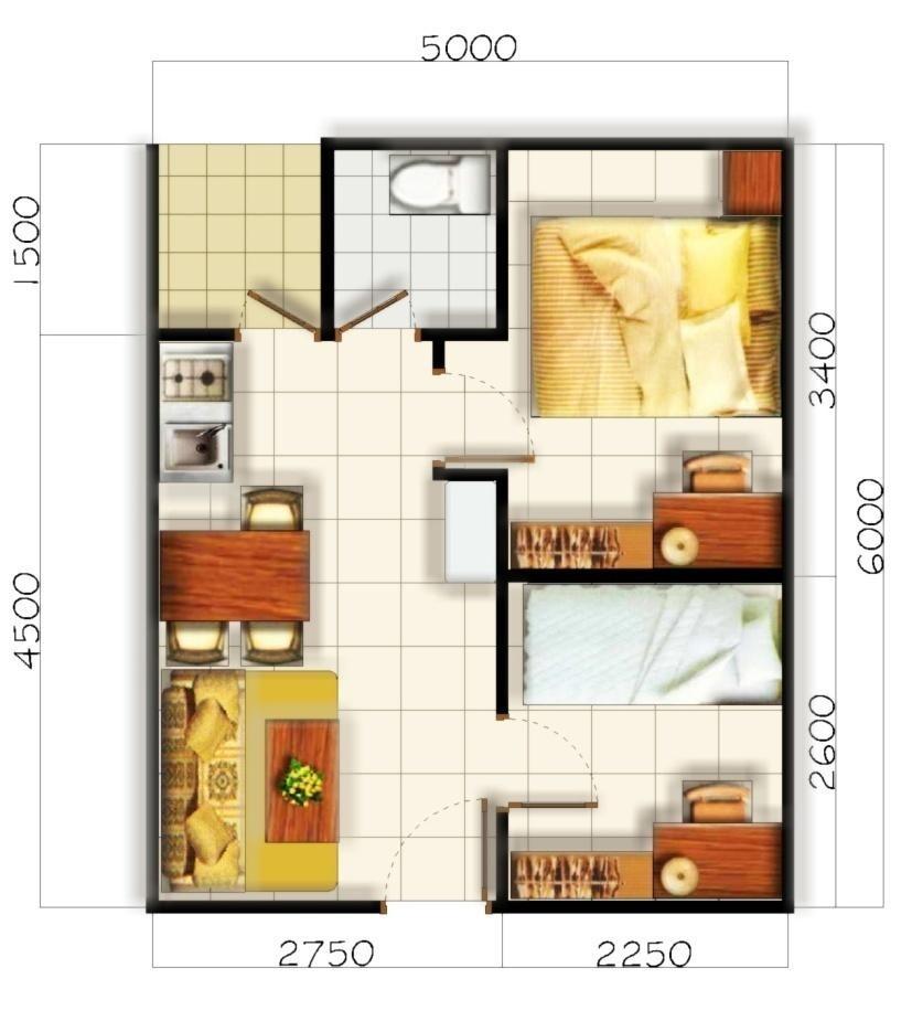 contoh gambar denah rumah minimalis type 36 2