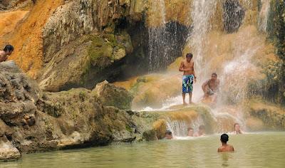 Hot spring water side Lake Segara Anak of Mount Rinjani