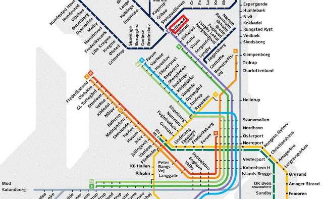 mapa metro y tren de copenhague
