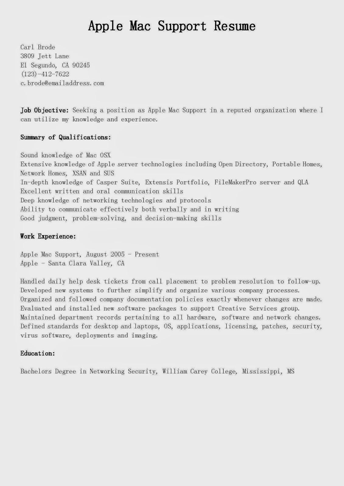 sample resume apple specialist