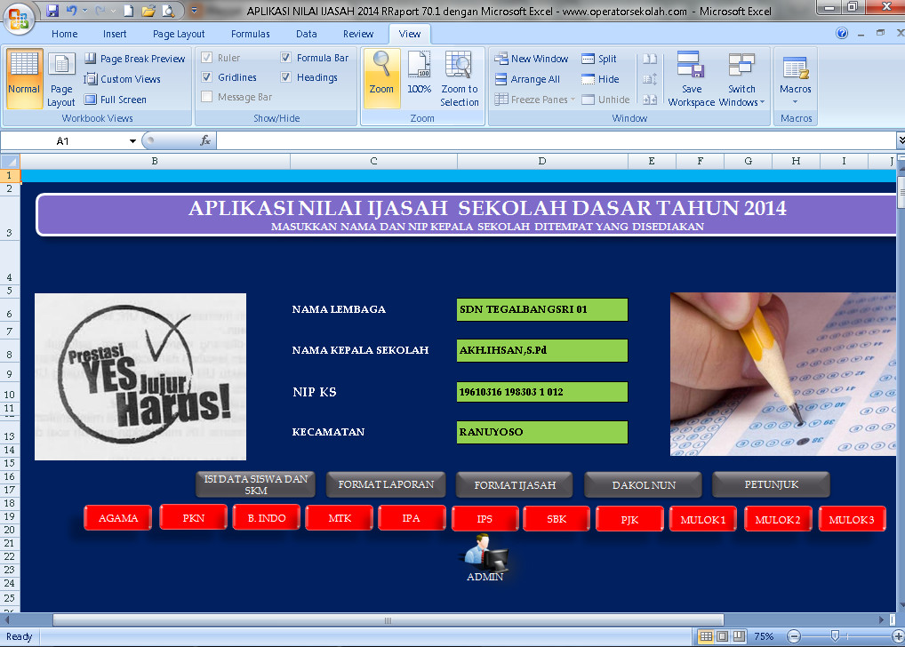 Download Aplikasi Nilai Ijasah 2016 Raport 70.1 Berbasis Ms. ExcelTerbaru (New Update)
