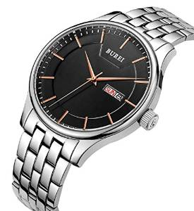 BUREI Men's Quartz Wrist Watches,Black Dial Day,Date Calendar Stainless Steel £25.49