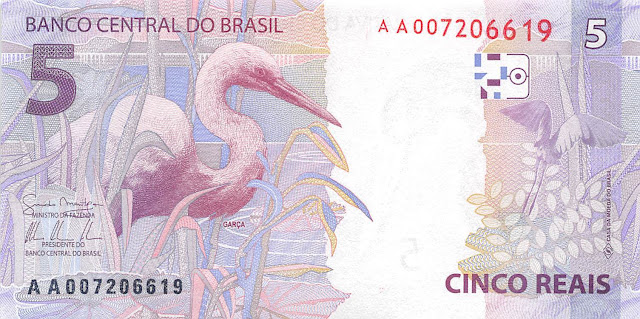 Brazilian Currency 5 Reals banknote 2010 Great Egret