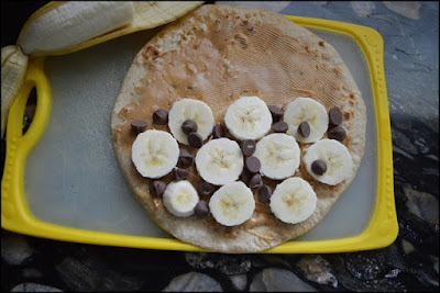 Peanut Butter-Banana-Choco Chip Quesadilla