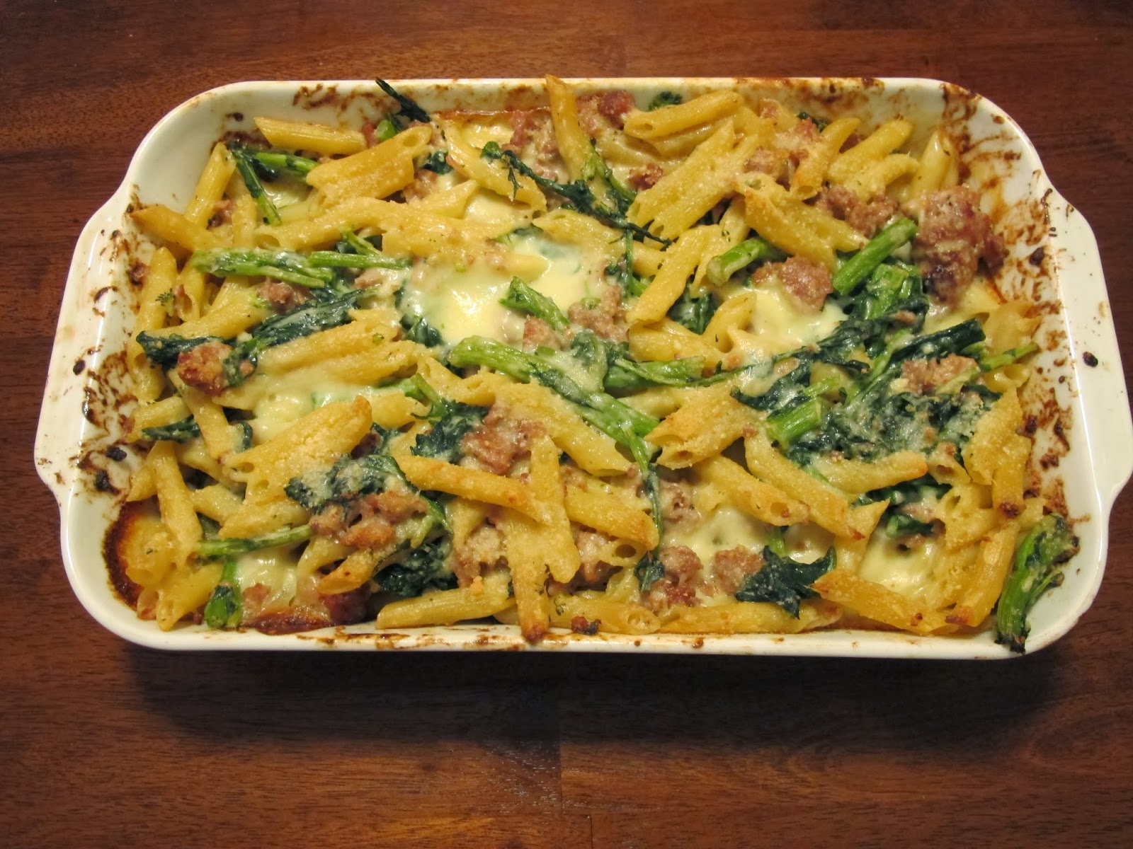 Kitchen Sink Diaries Baked Penne With Sausage Broccoli Rabe
