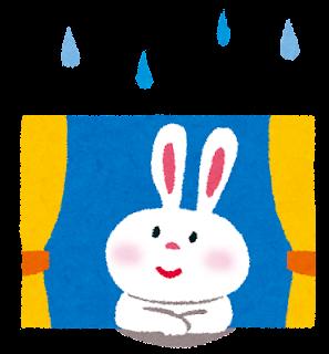 雨降る窓辺で空を見つめるウサギのイラスト