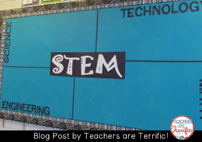 Simple, yet effective bulletin board for a STEM Lab! Check this blog post for more decorating tips!