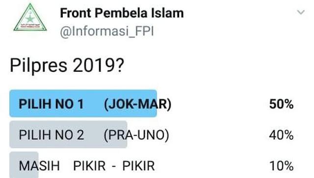 Jokowi-Ma'ruf Menang di Polling @Informasi_FPI, Munarman: Akun Kami Di-banned