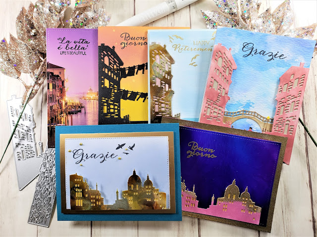 6 Cards w/Hero Arts My Monthly Hero Kit April 2019 | A Taste of Italy