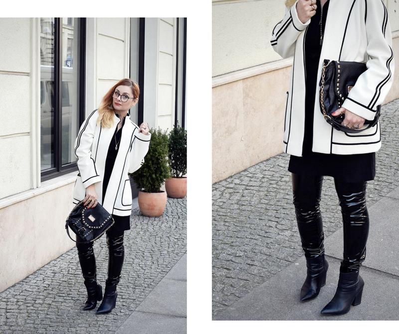 weißer Blazer mit Kontrastnähten, Lackleder Leggings, Ü40, Mature Woman