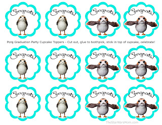 Porg Graduation Party Cupcake Toppers - Free Printables Star Wars Porgs