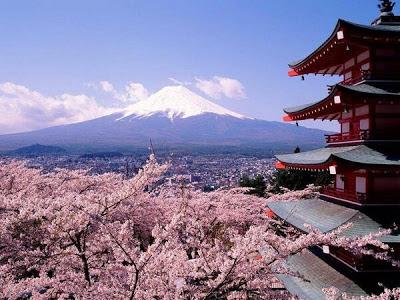 Flores japonés con Monte Fuji