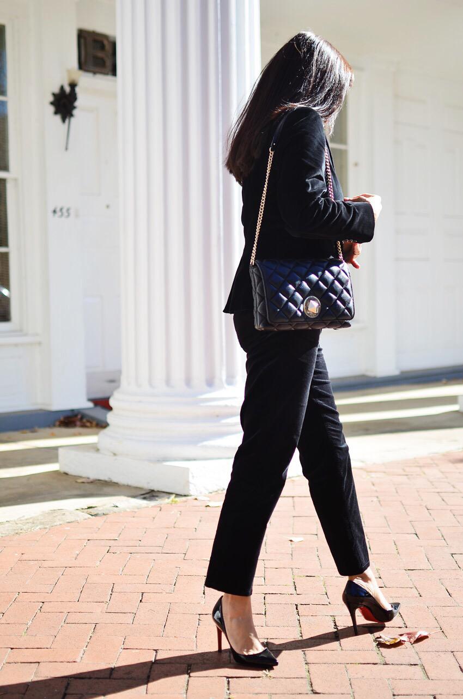 Velvet suit street style