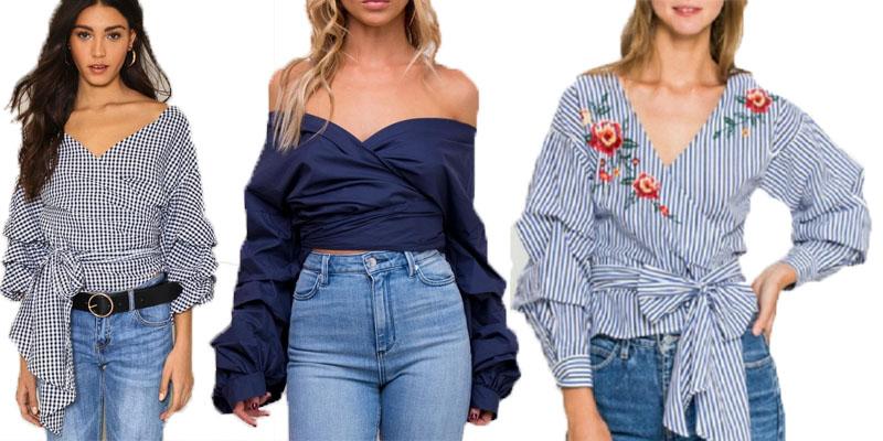 shop off shoulder wrap blouse