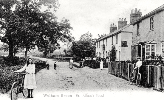Photograph of a postcard from the 1900s showing the former St Alban's Road which later became Dellsome Lane. From Peter Miller's collection photograph by G Knott