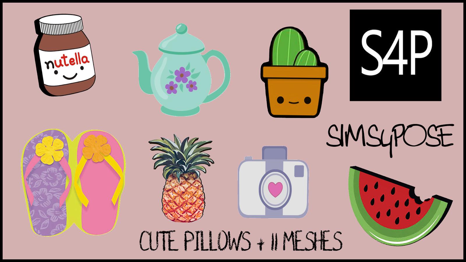 Sims 4 Pose Cute Pillow Set Mesh Misc Decor