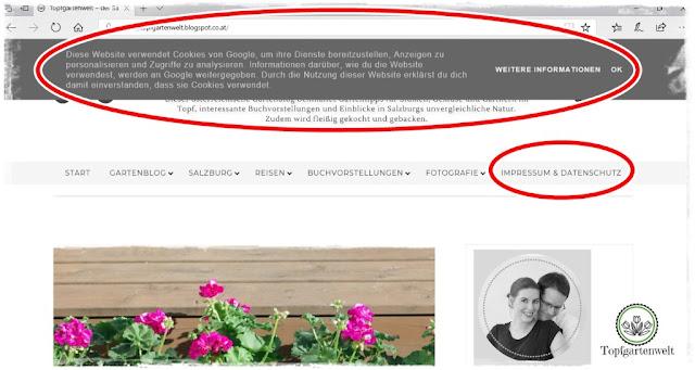Gartenblog Topfgartenwelt Umsetzung der DSGVO auf Blogspot: Cookie