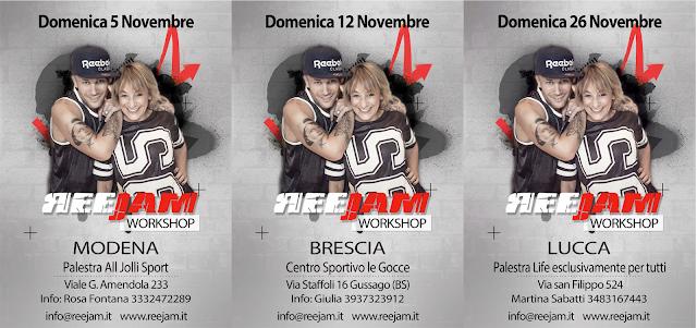 Reejam workshop, 5 novembre a Modena, 12 novembre a Brescia, 26 novembre a Lucca