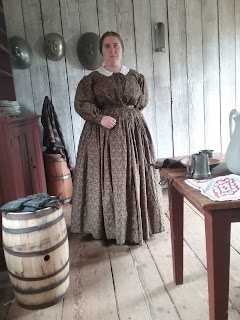 Brown cotton yoked dress for 1850s wear