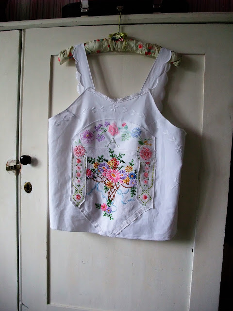 vintage embroidered linen camisole top by karen vallerius