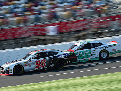 Chase Briscoe led every lap to win Stage 1 of the NASCAR Xfinity Series Drive for the Cure 250 presented by Blue Cross Blue Shield of North Carolina at Charlotte Motor Speedway.