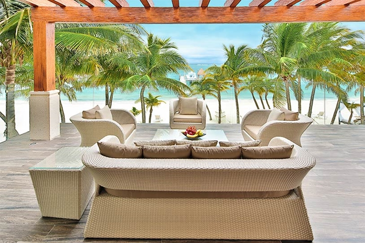 Terrace furniture in Modern villa on the beach in Mexico