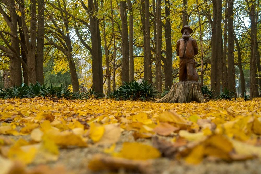 Скульптура в осеннем лесу