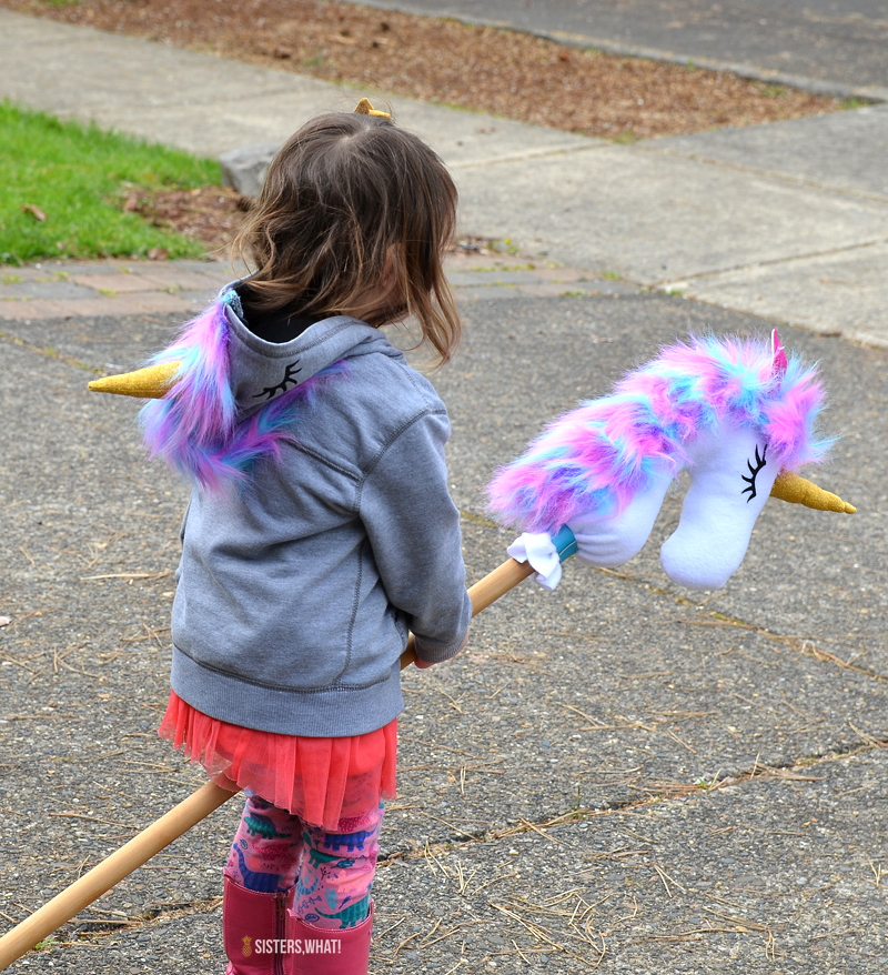 unicorn sweatshirt sewing stick horse