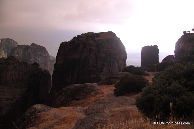 Meteora rocks lighted by lightning