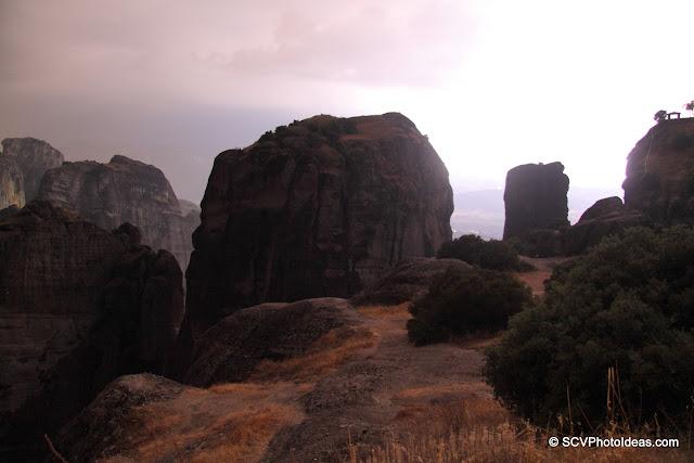 Meteora rocks lighted by lightning