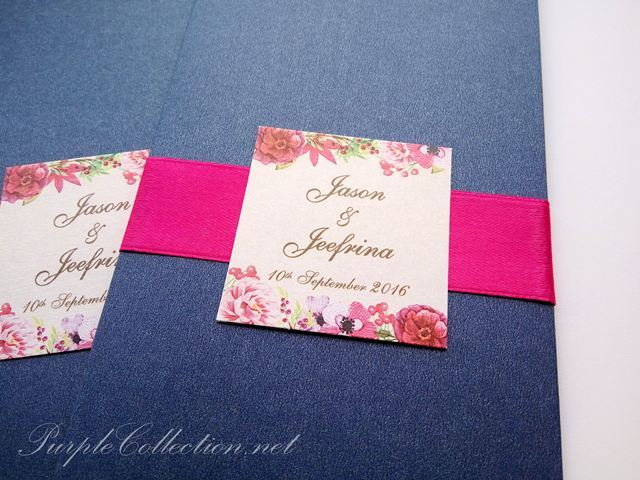 Royal Blue Wedding Invitation Cards: Royal Blue Wedding Invitation Card With Magenta Ribbon