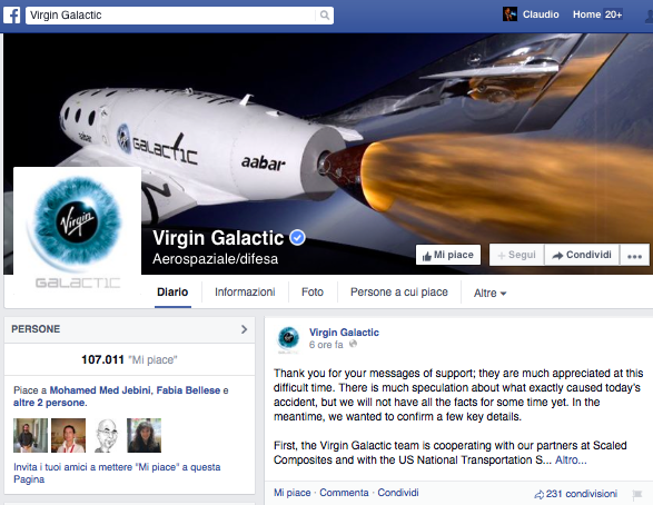 Virgin Galactic Facebook Page