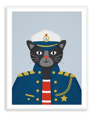 Nautical Nursery Poster Captain Panther