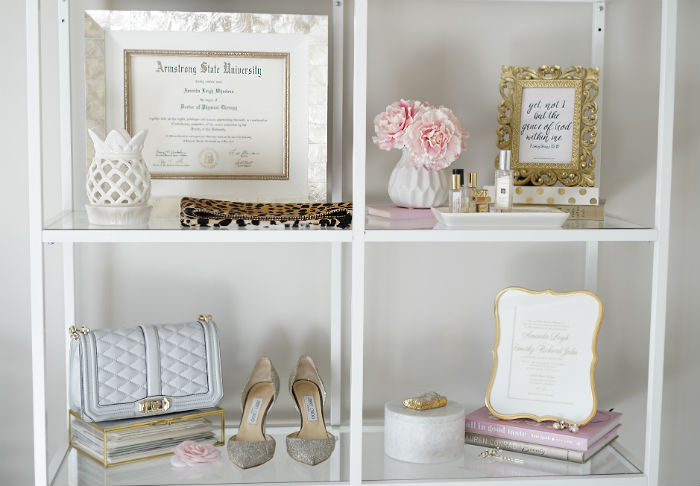 office tour, shelf styling, how to style a shelf, feminine decor inspiration, blogger decor