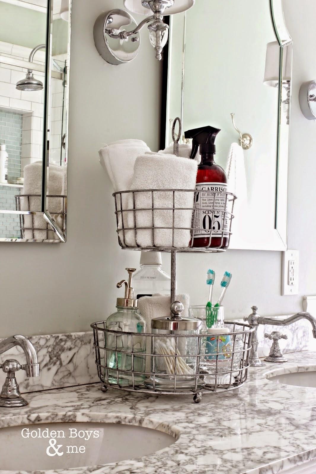 Tiered wire basket for bathroom storage-www.goldenboysandme.com