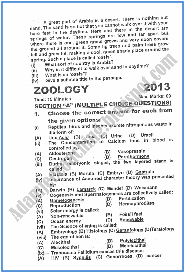 Zoology-2013-past-year-paper-class-XII
