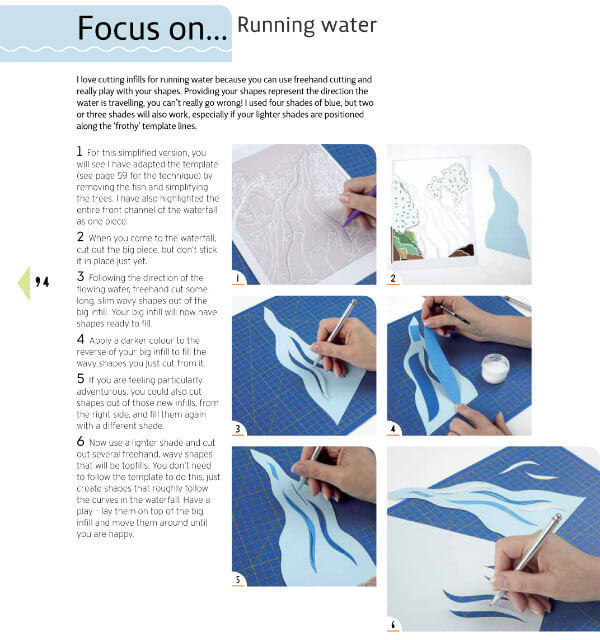 paper craft book page showing instructions of cutting a running water scene with swivel knife