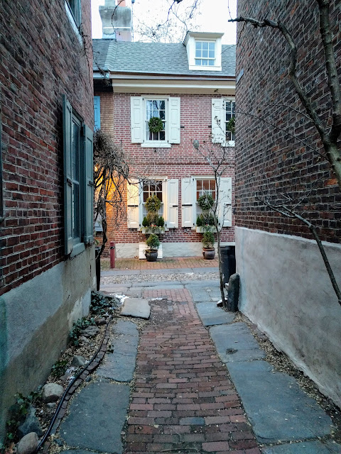 Elfreth's Alley colonial street in Old City Philadelphia