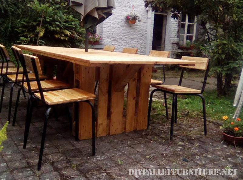 Mesa y sillas para cenador de jard n - Estructuras con palets ...