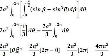 simplificamos la integral definida exterior y obtenemos su valor